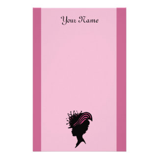 Side Profile Black Silhouette Victorian Lady Hat Stationery