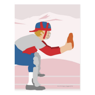 Side profile of a baseball player postcard