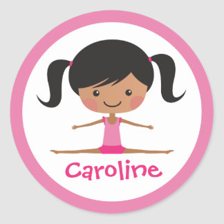 Side split gymnast girl cartoon custom name classic round sticker