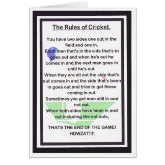 SIDE SPLITTING LAUGHTER for the cricket lover Card