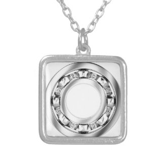 Side view of ball bearing silver plated necklace