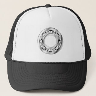 Side view of ball bearing trucker hat