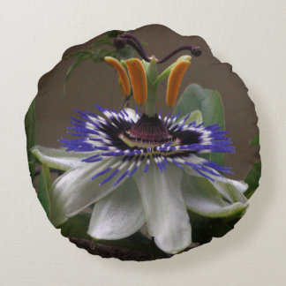 Side View of Beautiful Passiflora Flower Round Cushion