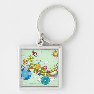 Side view of children playing on tree branch Silver-Colored square key ring