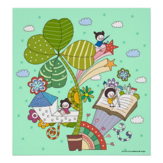 Side view of children studying by potted plant print