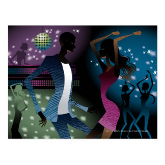 Side view of people dancing by microphone postcard
