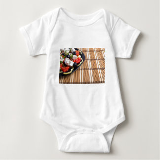 Side view of the Greek vegetarian salad of tomato Baby Bodysuit