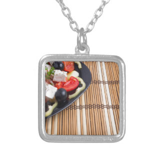 Side view of the Greek vegetarian salad of tomato Silver Plated Necklace