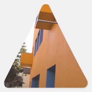 Side view of the Tech Museum, San Jose, California Triangle Sticker
