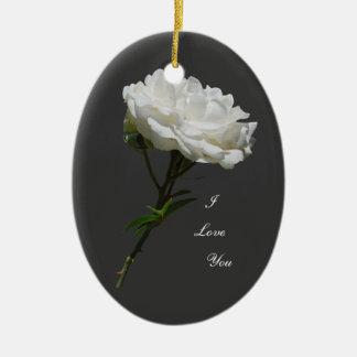 Side White Rose Christmas Tree Ornament