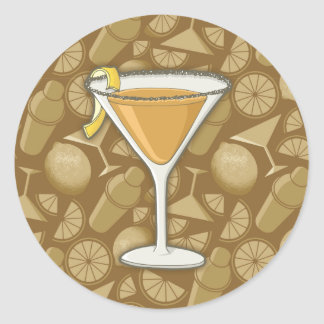 Sidecar cocktail classic round sticker