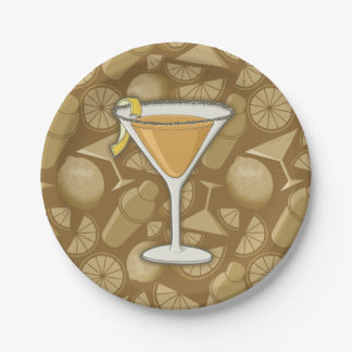 Sidecar cocktail paper plate