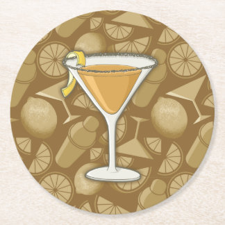 Sidecar cocktail round paper coaster