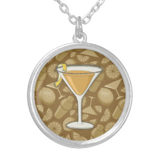 Sidecar cocktail silver plated necklace