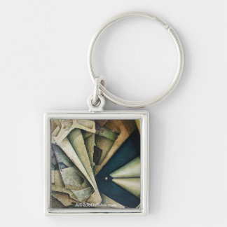 Sideral Space Silver-Colored Square Key Ring