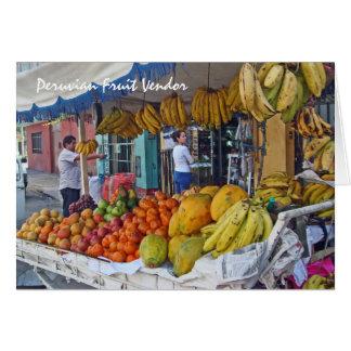 Sidewalk Fruit Vendor in Peru Card