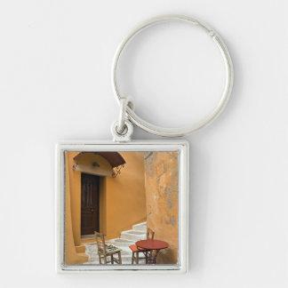 Sidewalk table setting, Chania, Crete, Greece Silver-Colored Square Key Ring