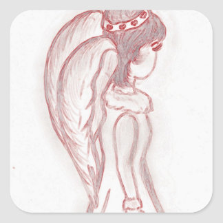 Sideways Angel in Red and White Square Stickers