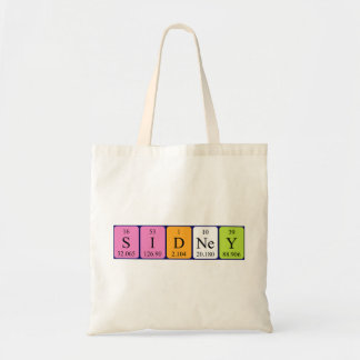 Sidney periodic table name tote bag