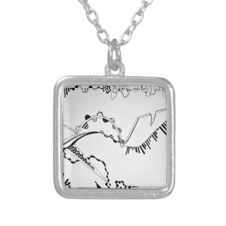 SieCel Fashion Shoe Drawing Print Silver Plated Necklace