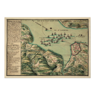 Siege of Quebec Map Poster
