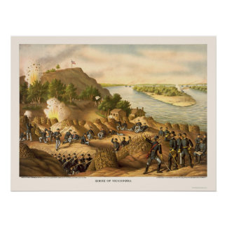 Siege of Vicksburg by Kurz and Allison 1863 Poster