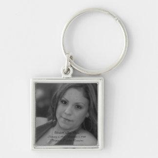 """Siempre en Nuestros Corazónes - Elizabeth """"Bety"""" O Silver-Colored Square Key Ring"""
