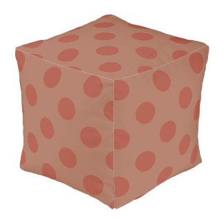 Sienna and FireBric Big Dots Cotton Cubed Pouf