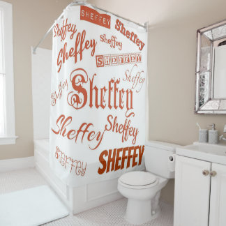 Sienna Brown Sheffey Fonts - 9565 Shower Curtain