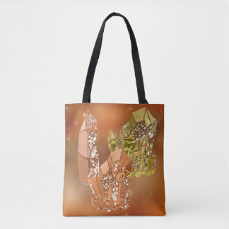 Sienna Coral & Gold Faux Glitter Crystals Tote Bag