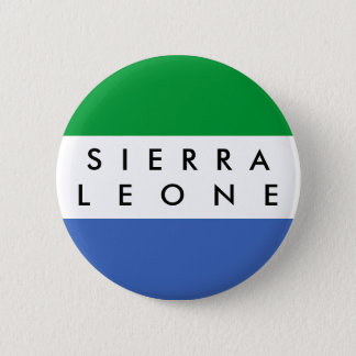 Sierra Leone country flag nation symbol name text 6 Cm Round Badge