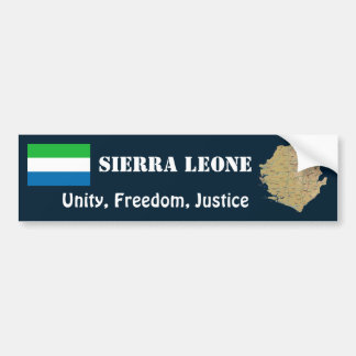 Sierra Leone Flag + Map Bumper Sticker