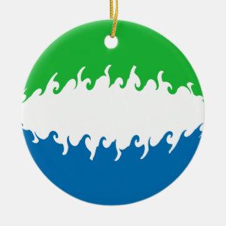 Sierra Leone Gnarly Flag Christmas Tree Ornaments