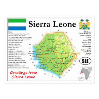 Sierra Leone map Postcard
