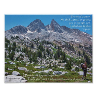 Sierra Nevada Hiking, Proverbs Chapter 4 Poster