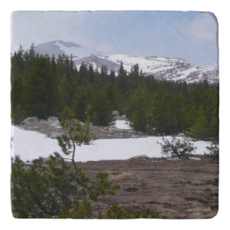 Sierra Nevada Mountains and Snow at Yosemite Trivet