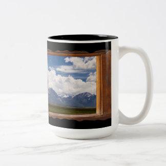 Sierra Nevada Through Cabin Window on Black Two-Tone Coffee Mug