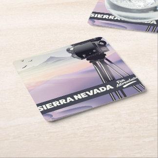 Sierra Nevada Travel poster Square Paper Coaster