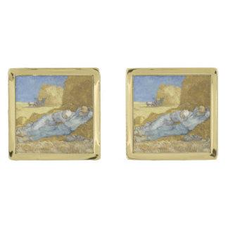Siesta after Millet by Vincent Van Gogh Gold Finish Cufflinks