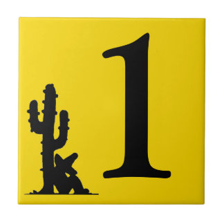 Siesta by cactus Yellow Hot Number 1 One uno tile