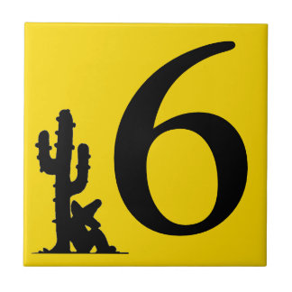 Siesta by cactus Yellow Hot Number 6 six tile