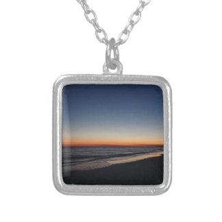 Siesta Key Beach Sunset Silver Plated Necklace