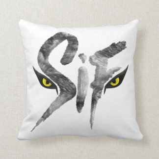 Sif, the Great Grey Wolf Typography Cushion