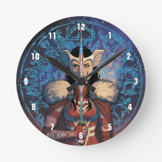 Sif With Sword Round Clock