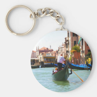 Sightseeing By Gondola Venice Italy Basic Round Button Key Ring