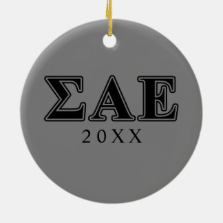 Sigma Alpha Epsilon Black Letters Ceramic Ornament