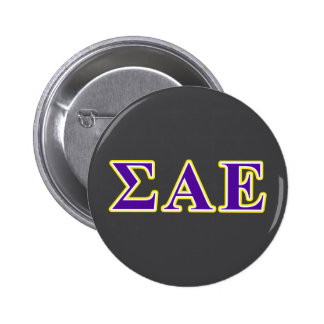 Sigma Alpha Epsilon Purple and Yellow Letters 6 Cm Round Badge