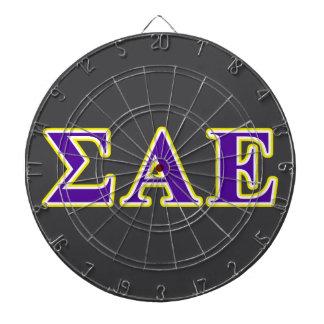 Sigma Alpha Epsilon Purple and Yellow Letters Dartboard