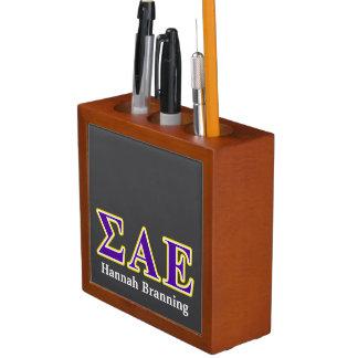 Sigma Alpha Epsilon Purple and Yellow Letters Desk Organiser