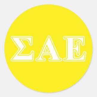 Sigma Alpha Epsilon White and Yellow Letters Classic Round Sticker